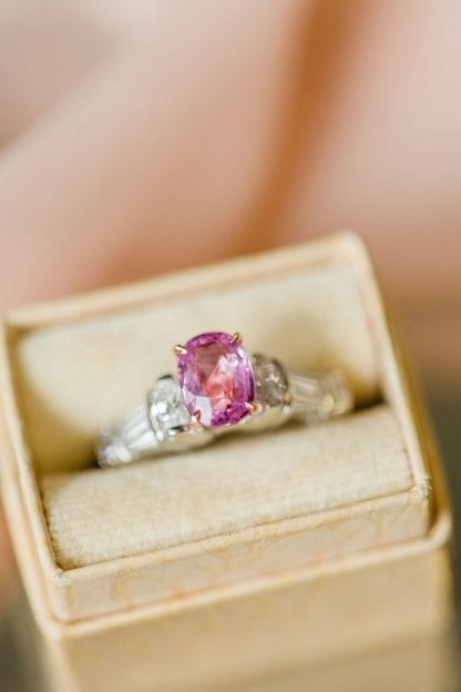 custom pink sapphire alternative engagement ring